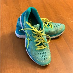 ASICS teal and bright yellow gel kayano sneaker